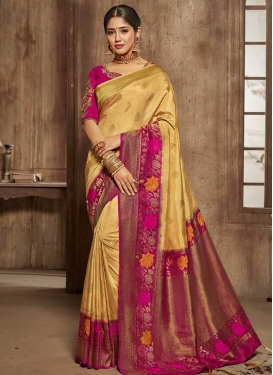Beige and Fuchsia Jacquard Silk Designer Contemporary Saree