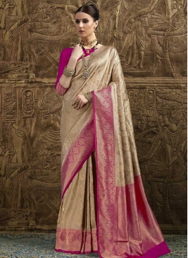 Beige and Fuchsia Jacquard Silk Trendy Saree