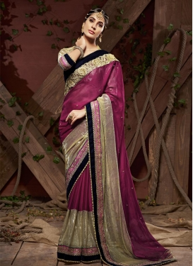 Beige and Fuchsia Traditional Designer Saree