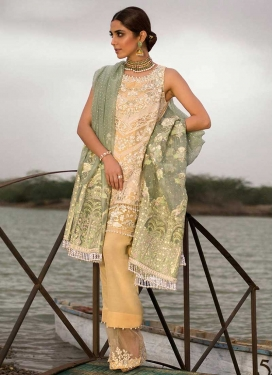 Beige and Gold Beads Work Pant Style Classic Salwar Suit