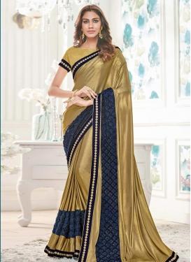 Beige and Gold Classic Designer Saree