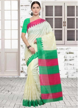 Beige and Green  Classic Saree