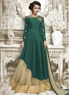Beige and Green Embroidered Work Designer Kameez Style Lehenga