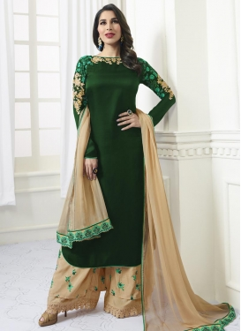 Beige and Green Embroidered Work Satin Palazzo Style Pakistani Salwar Kameez