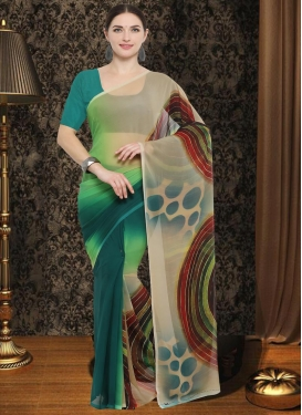 Beige and Green Faux Georgette Contemporary Saree