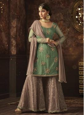 Beige and Green Net Sharara Salwar Suit