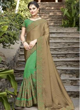 Beige and Green Silk Half N Half Trendy Saree