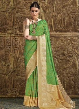 Beige and Green Traditional Designer Saree