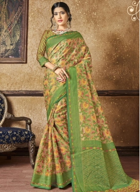Beige and Green Traditional Saree