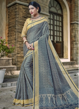 Beige and Grey Banarasi Silk Contemporary Saree