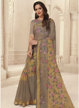 Beige and Grey Brasso Georgette Contemporary Style Saree