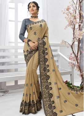 Beige and Grey Contemporary Style Saree