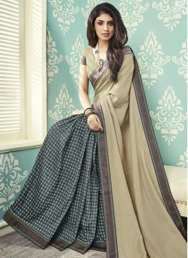 Beige and Grey Designer Half N Half Saree For Casual