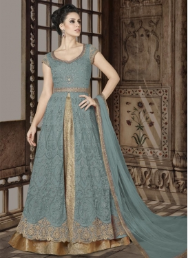 Beige and Grey Designer Kameez Style Lehenga For Festival