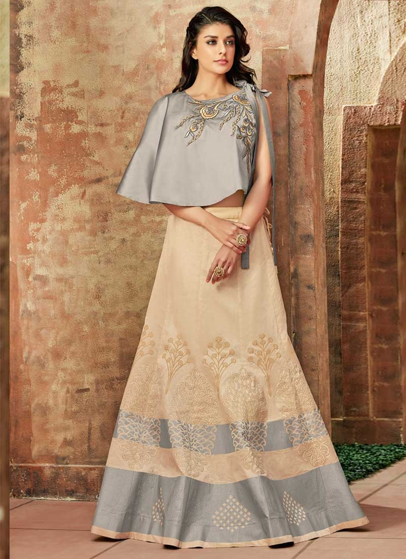 Beige and Grey Designer Lehenga Choli For Festival