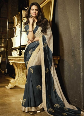 Beige and Grey Embroidered Work Contemporary Style Saree
