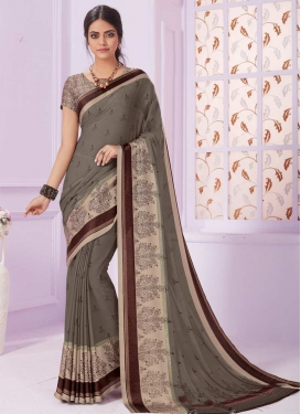 Beige and Grey Faux Georgette Traditional Saree