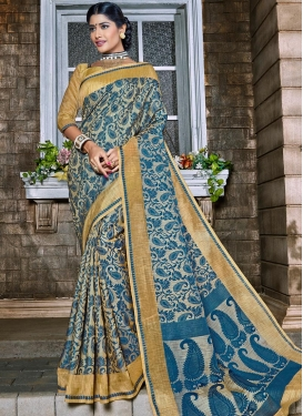Beige and Grey Thread Work Contemporary Style Saree