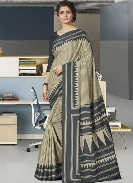Beige and Grey Trendy Classic Saree For Casual