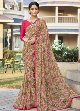 Beige and Hot Pink Contemporary Style Saree For Casual