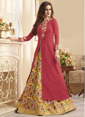 Beige and Hot Pink Cutdana Work Kameez Style Lehenga