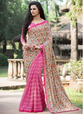 Beige and Hot Pink Digital Print Work Half N Half Trendy Saree