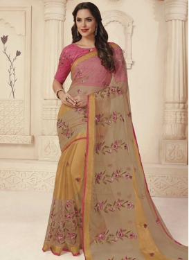 Beige and Hot Pink Embroidered Work Designer Contemporary Style Saree