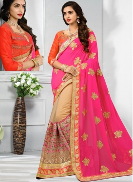 Beige and Hot Pink Embroidered Work Designer Half N Half Saree