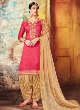 Beige and Hot Pink Embroidered Work Designer Patiala Suit