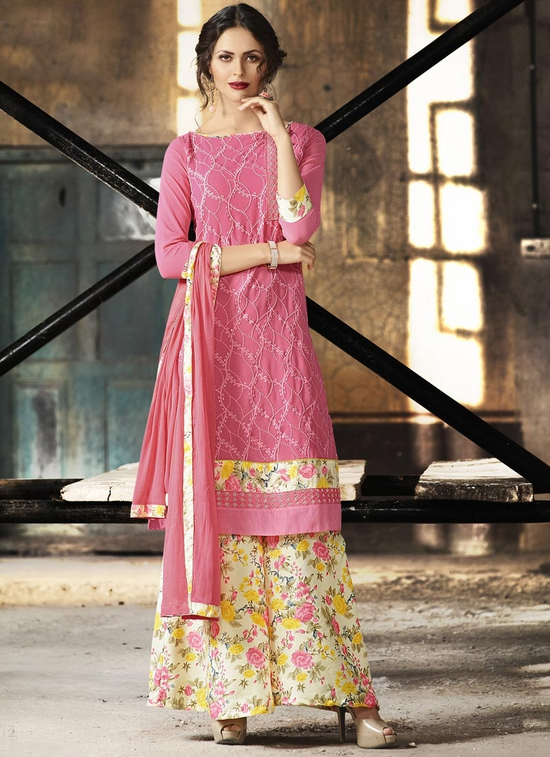 Beige and Hot Pink Faux Crepe Trendy Palazzo Salwar Suit