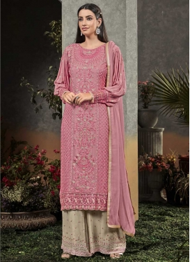Beige and Hot Pink Faux Georgette Palazzo Style Pakistani Salwar Kameez