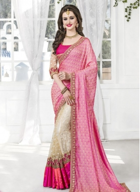 Beige and Hot Pink Jacquard Silk Half N Half Designer Saree For Festival