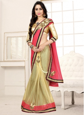 Beige and Hot Pink Lycra Designer Half N Half Saree