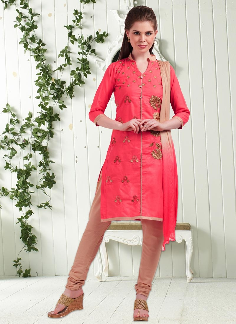 Beige And Hot Pink Punjabi Churidar Suit For Casual