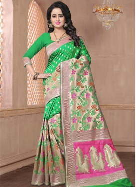 Beige and Hot Pink Traditional Saree For Ceremonial
