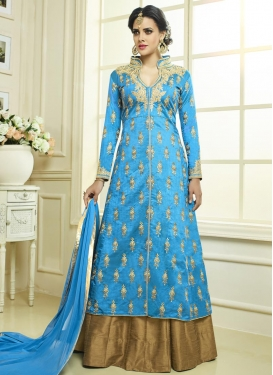 Beige and Light Blue Designer Kameez Style Lehenga For Ceremonial