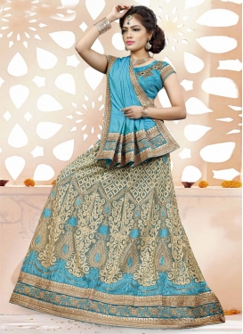 Beige and Light Blue Net Trendy A Line Lehenga Choli