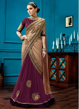 Beige and Magenta Faux Georgette Designer Lehenga Style Saree For Ceremonial