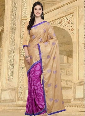 Beige and Magenta Lace Work Half N Half Trendy Saree
