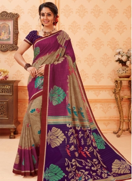 Beige and Magenta Print Work Trendy Classic Saree
