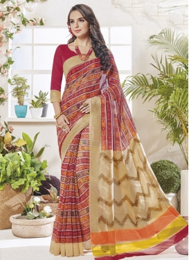 Beige and Maroon  Art Silk Contemporary Style Saree