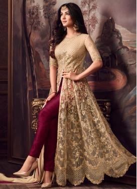Beige and Maroon Banarasi Silk Pant Style Designer Salwar Kameez