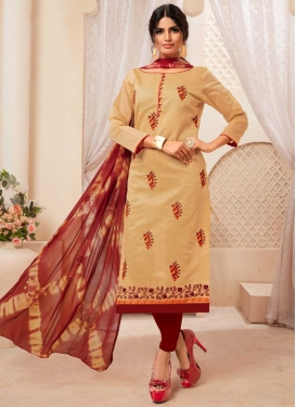 Beige and Maroon Cotton Silk Trendy Churidar Suit
