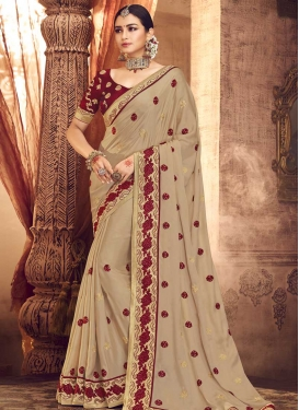 Beige and Maroon Designer Traditional Saree For Festival
