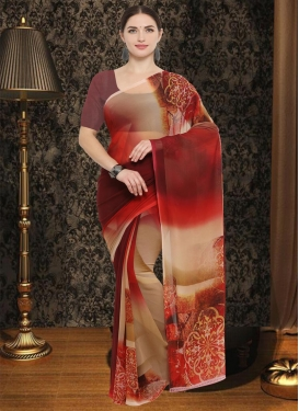 Beige and Maroon Digital Print Work Faux Georgette Traditional Saree