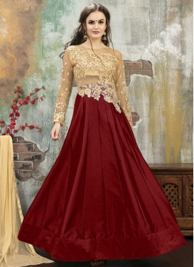 Beige and Maroon Net Designer Lehenga Choli