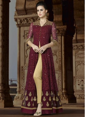 Beige and Maroon Pant Style Classic Salwar Suit