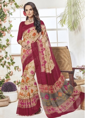 Beige and Maroon Print Work Traditional Saree