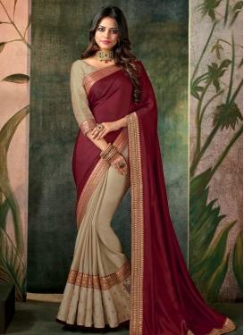 Beige and Maroon Satin Silk Half N Half Trendy Saree For Ceremonial