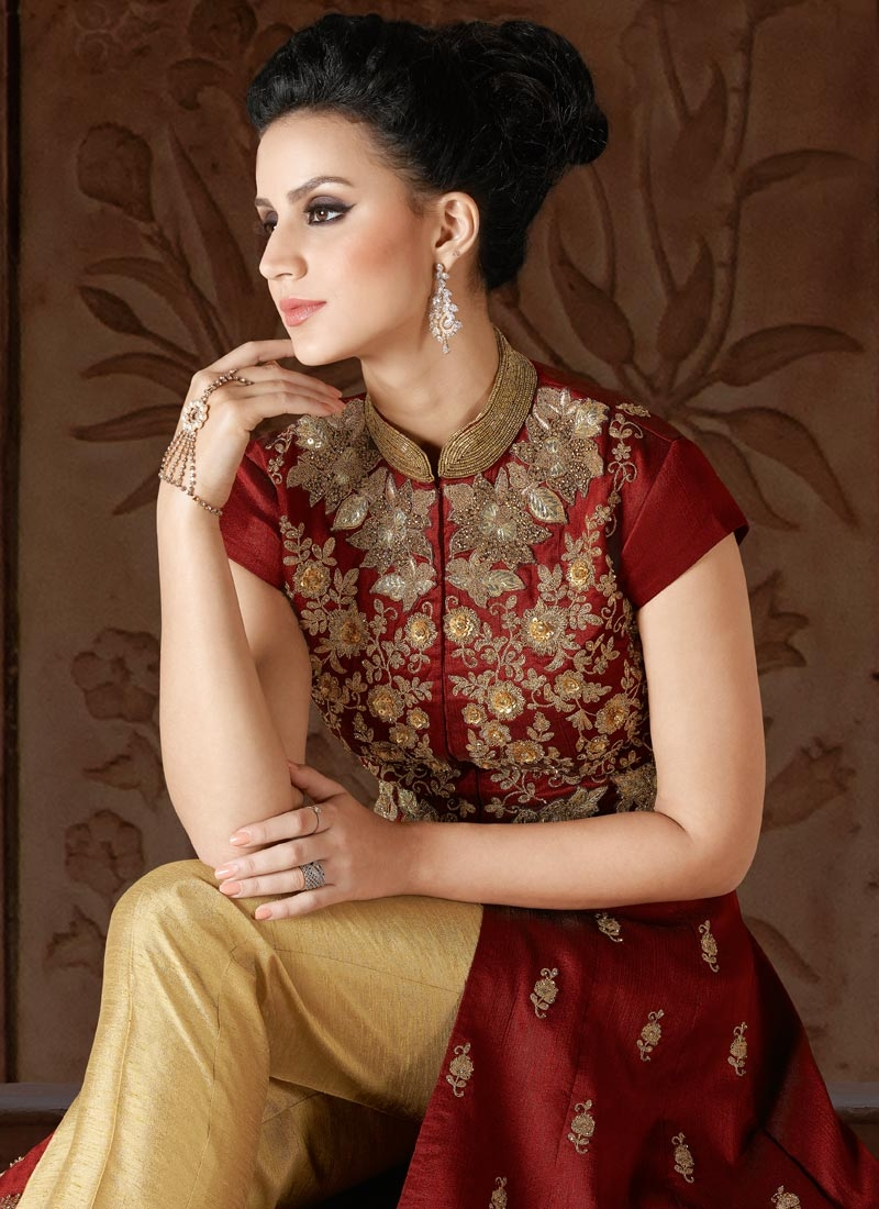 Beige and Maroon Silk Pant Style Classic Salwar Suit